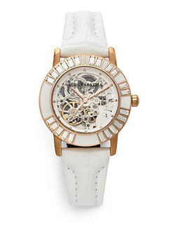 BCBGMAXAZRIA - Round Crystal & Enamel Leather Rose Gold Watch