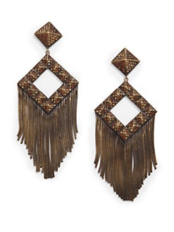 joanna laura constantine - Pave Pyramid Stud Fringe Earrings