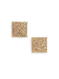 joanna laura constantine - Pave Pyramid Stud Earrings/Yellow Gold