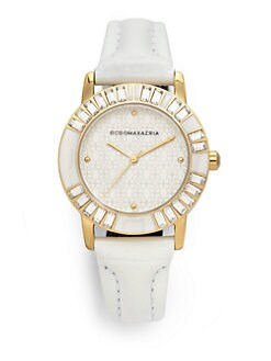 BCBGMAXAZRIA - Round Crystal & Enamel Leather Yellow Gold Watch
