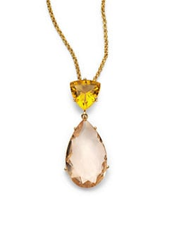 Isharya - Libra Faceted Two-Stone Necklace/Peach