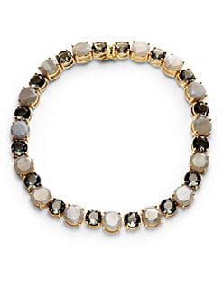 Noir - Faceted Two-Tone Agate Necklace/Grey