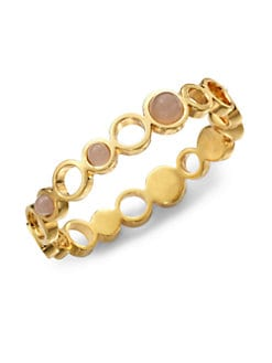 Kara Ross - Pink Quartz Gemstone Cutout Bangle