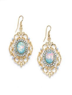 Sparkling Sage - Cabochon Openwork Drop Earrings