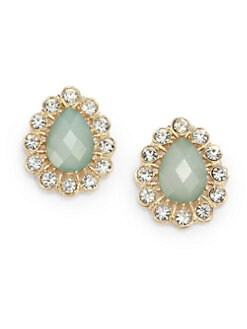 Sparkling Sage - Teardrop Button Earrings