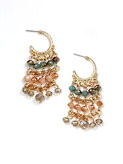 Leslie Danzis - Beaded Drop Hoop Earrings