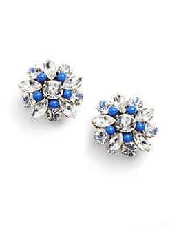 Leslie Danzis - Crystal Flower Clip-On Earrings