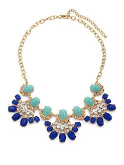 Leslie Danzis - Crystal Scalloped Bib Necklace/Blue