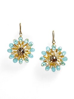 Leslie Danzis - Beaded Flower Drop Earrings