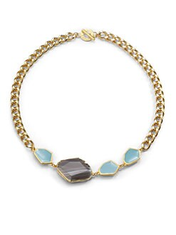 Janna Conner - Ivana Agate & Enamel Necklace/Blue