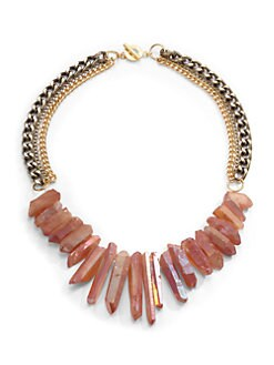 Janna Conner - Rock Crystal Fringe Multi-Chain Necklace/Peach