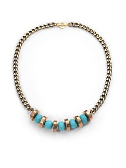 Janna Conner - Tuquoise Bead & Brass Coin Necklace