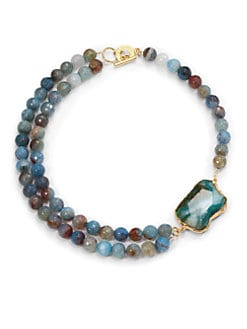 Janna Conner - Kelsey Agate Necklace/Blue