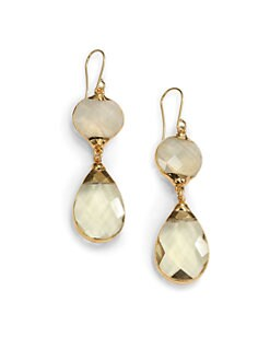 Janna Conner - Aurelie Quartz Teardrop Earrings/Yellow