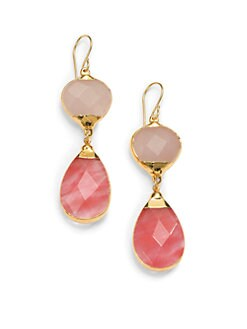 Janna Conner - Aurelie Quartz Teardrop Earrings/Red