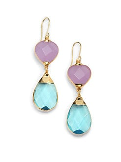 Janna Conner - Aurelie Quartz Teardrop Earrings/Blue