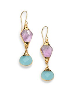 Janna Conner - Aurele Amethyst & Quartz Drop Earrings
