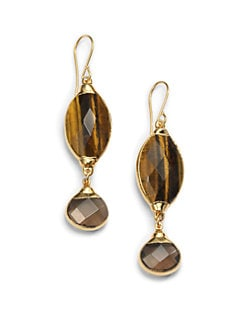 Janna Conner - Tiger's Eye & Quartz Marquis Drop Earrings