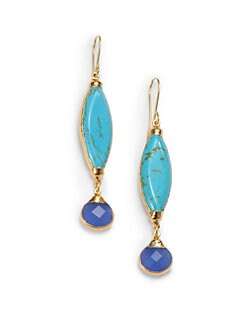 Janna Conner - Turquoise & Quartz Marquis Drop Earrings