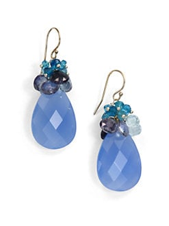NuNu - Mixed Cluster Teardrop Earrings/Blue