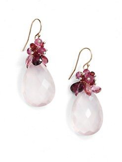 NuNu - Mixed Cluster Teardrop Earrings/Pink