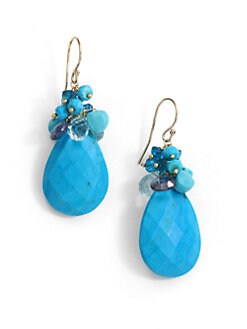 NuNu - Mixed Cluster Teardrop Earrings/Teal