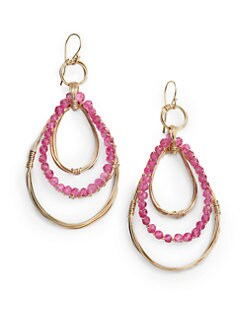 NuNu - Triple Teardrop Earrings/Fuchsia