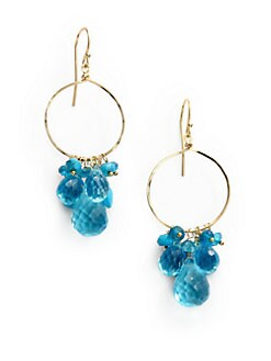 NuNu - Mixed Cluster Drop Hoop Earrings/Blue