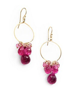 NuNu - Cluster Drop Hoop Earrings/Pink