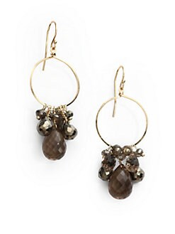 NuNu - Mixed Cluster Drop Hoop Earrings/Smokey
