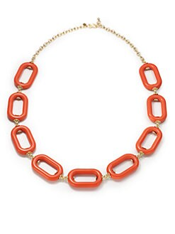 Kenneth Jay Lane - Long Resin Link Necklace/Coral