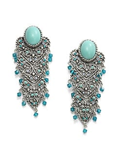 Clara Kasavina - Cabochon Filigree Chandelier Earrings