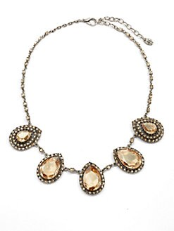 Clara Kasavina - Teardrop Swarovski Crystal Station Necklace