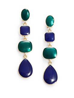 Kenneth Jay Lane - Enamel Geometric Clip-On Triple Drop Earrings