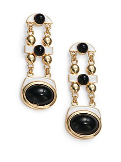 Kenneth Jay Lane - Geometric Drop Earrings/Black & White