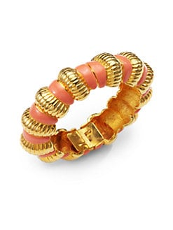 Kenneth Jay Lane - Enamel Ribbed Bracelet/Pink