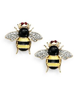 Kenneth Jay Lane - Enamel Bee Earrings