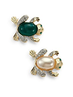 Kenneth Jay Lane - Frog Pin Set/Green & Faux Pearl