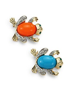 Kenneth Jay Lane - Frog Pin Set/Blue & Orange