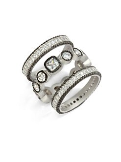 Belargo - Two-Tone Square & Round Bezel Ring Set