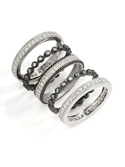 Belargo - Two-Tone Round Bezel Ring Set