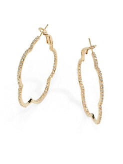Belargo - Pave Inside/Outside Scalloped Hoop Earrings