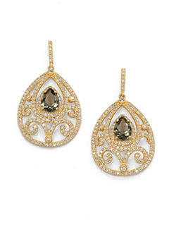 Belargo - Pave Filigree Cutout Teardrop Earrings