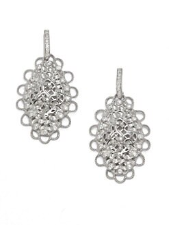 Belargo - Fleur de Lis Medallion Drop Earrings/Silver
