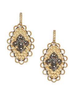 Belargo - Two-Tone Fleur de Lis Medallion Drop Earrings