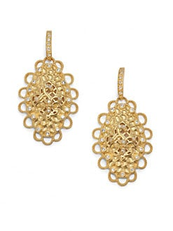 Belargo - Fleur de Lis Medallion Drop Earrings/Gold
