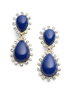 Kenneth Jay Lane - Enamel & Rhinestone Teardrop Earrings