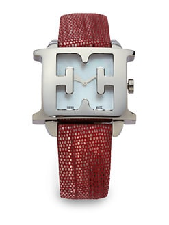 Escada - Estelle Stainless Steel & Leather Watch/Red