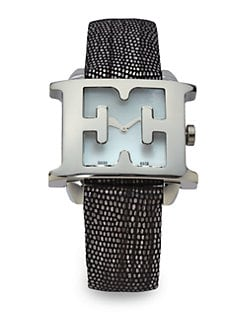 Escada - Estelle Stainless Steel & Leather Watch/Black