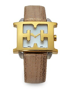 Escada - Estelle Goldtone Stainless Steel & Leather Watch/Beige